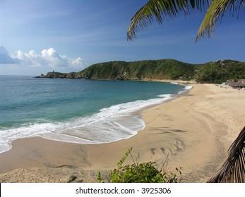 Wide sand beach in Mazunte, Mexico