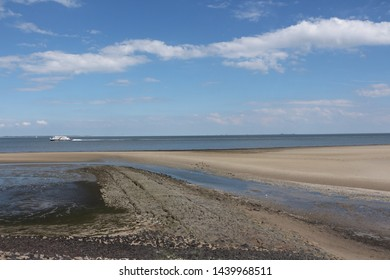 Wide sandy beach on the North Sea island of Amrum