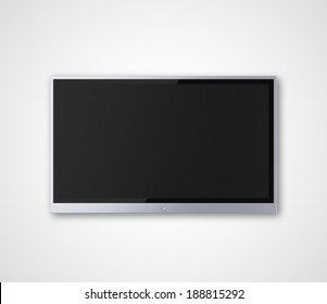 wide screen TV on a gray background