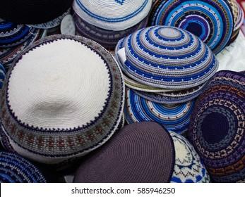 Wide Selection of Traditional Kippah Yarmulke Jewish Hats on Display