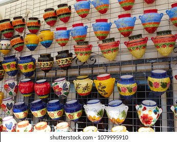 Wide selection of traditional typical handmade painted ceramic  pots, planters and vases Spain