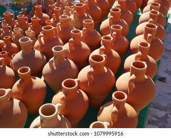 Wide selection of traditional typical handmade clay pots and vases Spain