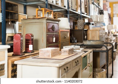 Wide selection of vintage furniture and home design objects in  store