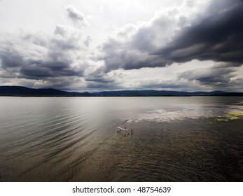 wide shoot of stormy sky over river Danube