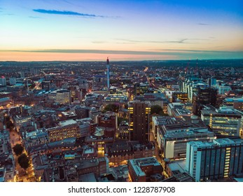 Wide shot of Birmingham City Centre at Sunset