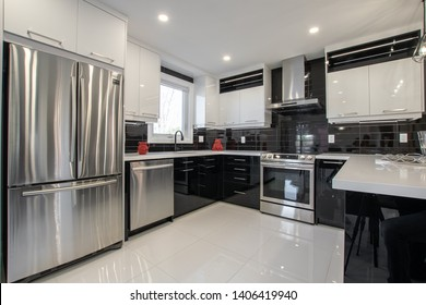 Wide shot of a bright shining kitchen.