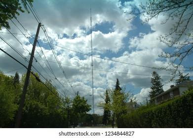 Wide Shot of a Broadcast Antenna, Needham, MA.