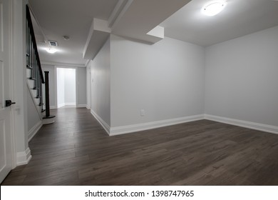 Wide shot of a finished basement
