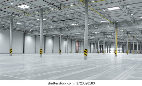 Wide shot of industrial hall empty and clean