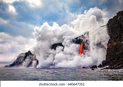 Wide shot of the Kamokuna ocean entry in Hawaii's Volcano National Park