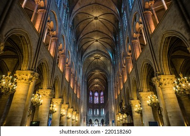 Wide shot of Notre Dame cathedral interior, Paris, France