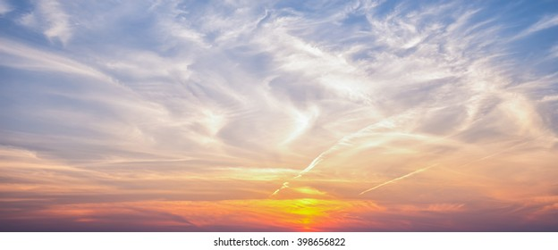 Wide sky panorama in sunset