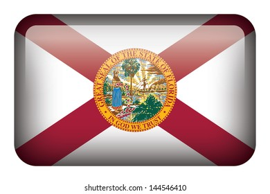 Wide square flag button series - Florida