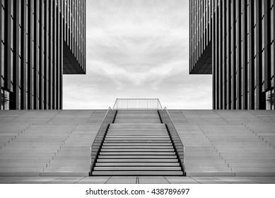 Wide stairway between two modern office buildings at the Medienhafen (media harbour) in Dusseldorf, Germany. Toned.