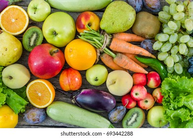 Wide variety of Fruits and vegetables closeup