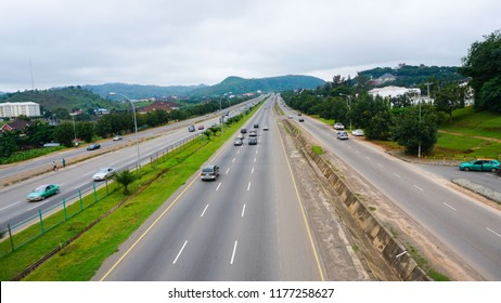 wide view of Abuja highway with cars