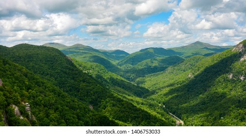 Wide view of the Blue Ridge Mountains, seen from Chimney Rock Mountain in North Carolina