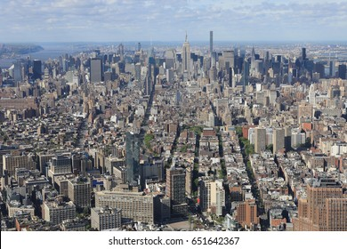 A Wide view of buildings in lower Manhattan