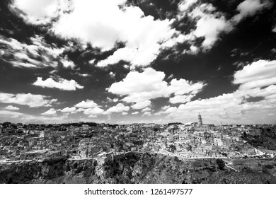 Wide view of the city of Matera in Basilicata in black and white.
