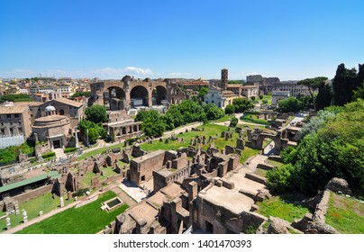 Wide view of the historic Roman Forum, Ancient Rome's central marketplace