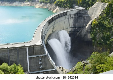 Wide view of a large dam in Japan