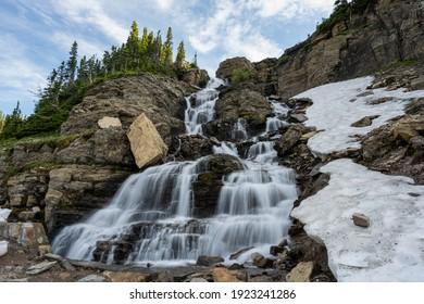 Wide View of Logan Creek Falls in Glacier National Park
