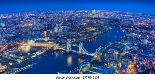 wide view of London city in a beautiful night. aerial shot