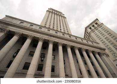 Wide view looking up at the United States Court House, lower Manhattan, New York