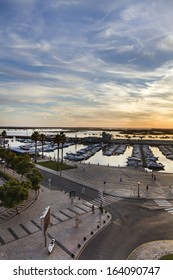 Wide view of the marina located in Faro, Portugal.