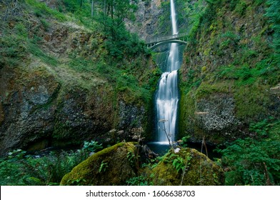 Wide view of the Multnomah Falls Near the Columbia River Gorge with the motion of the falling water as well as the windblown foliage captured as imagined