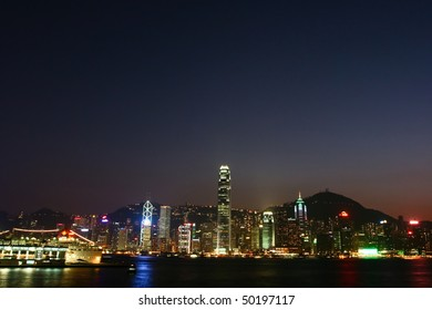 A wide view of Night scene in Hong Kong Island side
