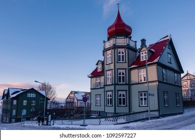 Wide view of old vintage house in Reykjavik, Iceland.