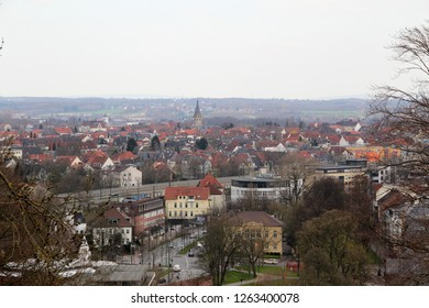 wide view on the buildings from the roof top of the sparrenburg in bielefeld germany photographed during a sightseeing tour at a sunny day