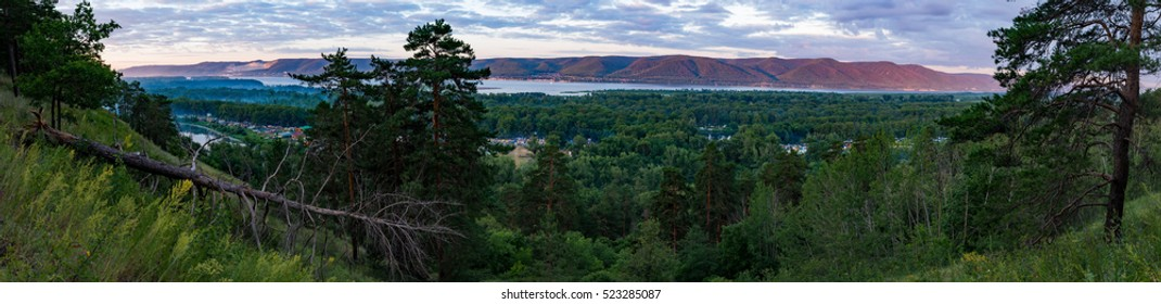 Wide view on Grushin fest and Volga river, Samara, Russia