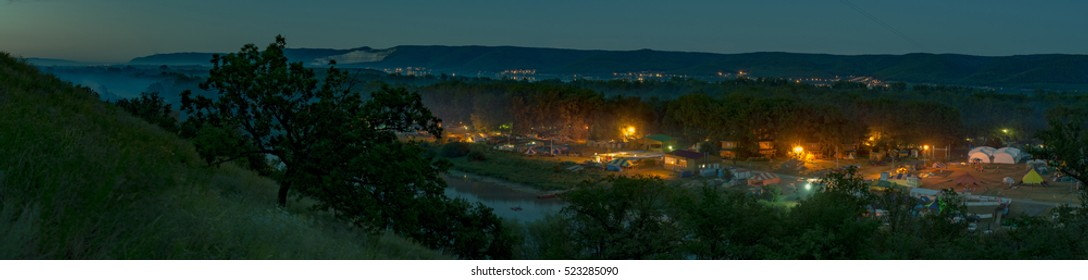 Wide view on Grushin fest from mountain in night, Samara, Russia