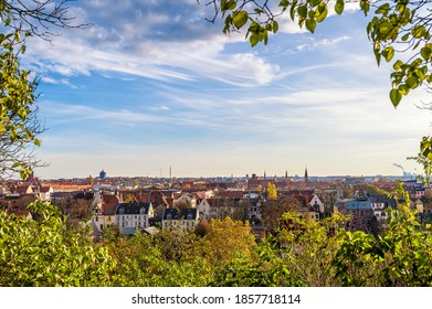 Wide view over the roofs of the beautiful city of Halle (Saale)