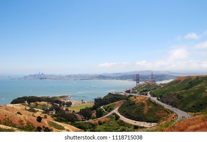Wide view over the San Francisco Bay with the Golden Gate Bridge and the skyline of San Francisco, seen from the Marin Headlands, Marin County, California