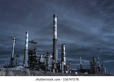 Wide view of part of a big oil refinery - infrared