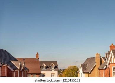 wide view of roof tops of British housing development