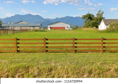 Wide view of a small, green pasture that is fenced and is part of a hobby farm.