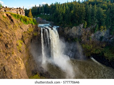 Wide view of Snoqualmie Falls, Washington, about an hour east of Seattle