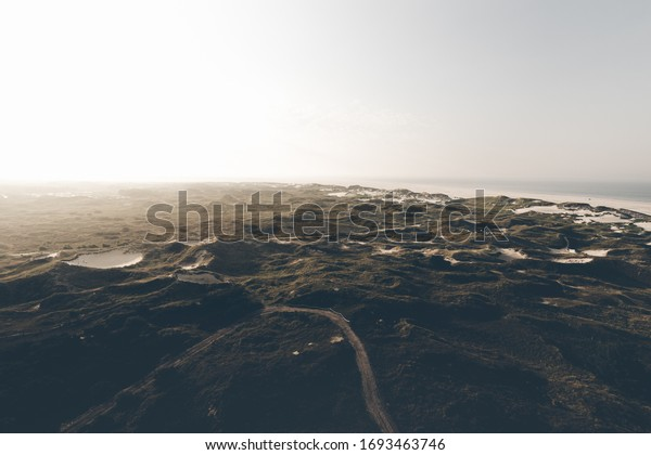 Wide view sunrise over the dunes of Amrum