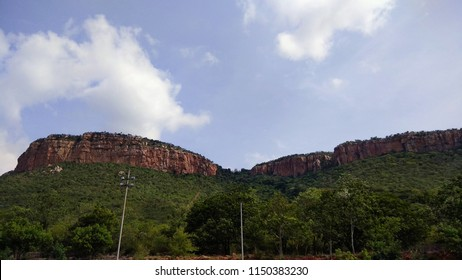 wide view of tirupati or tirumala mountain covered by green trees in the foreground seen with clear sky
