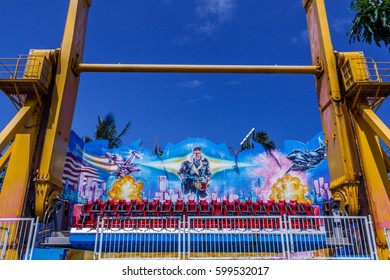 Wide view of top gun funfair ride, Chennai, India. Jan 29 2017 with copy space