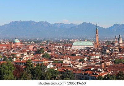 wide view of Vicenza town in Italy and the high tower of Palladian Basilica