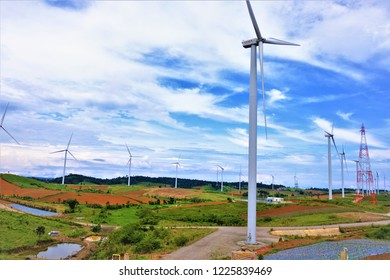 Wide view of wind farm in Thailand