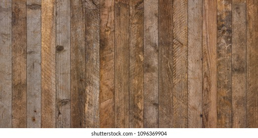 Wide vintage old wooden planks texture background flatlay