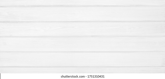 Wide white painted wooden board texture. Whitewashed wood plank backdrop. Widescreen vintage background