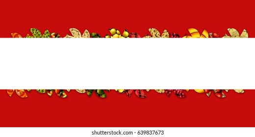 Wide white ribbon with abstract lace made of semicircles full of various fruity textures: apples, cherries, berries, citrus and exotic/tropical fruits, on red background
