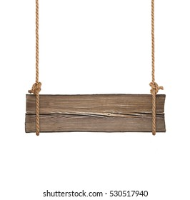 Wide wooden signboard hanging on single ropes isolated on white